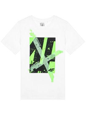 4F 4F T-Shirt JTSM002 Biały Regular Fit