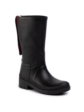 TOMMY HILFIGER TOMMY HILFIGER Gumicsizma Elevated Th Hardware Rainboot FW0FW04583 Fekete