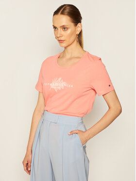 Tommy Hilfiger Tommy Hilfiger Marškinėliai Babette WW0WW28299 Rožinė Regular Fit