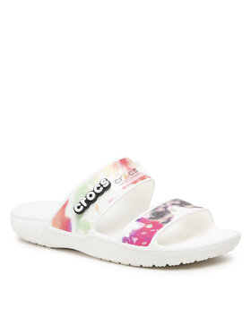 Crocs Crocs Шльопанці Classic Crocs Tiedye Grphcsndl 207283 Білий