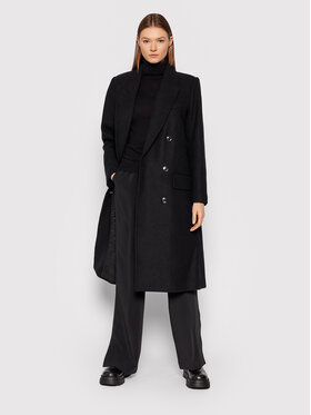 Gestuz Gestuz Μάλλινο παλτό Chantal 10905544 Μαύρο Loose Fit