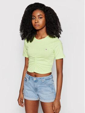 Tommy Jeans Tommy Jeans T-Shirt Tjw Crop Ruche Top DW0DW10131 Zelená Slim Fit