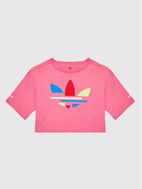 adidas adidas T-Shirt Crop Top adicolor H32350 Różowy Loose Fit