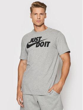 Nike Nike Marškinėliai Just Do It Swoosh AR5006 Pilka Regular Fit