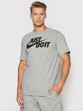 Nike Nike Тишърт Just Do It Swoosh AR5006 Сив Regular Fit
