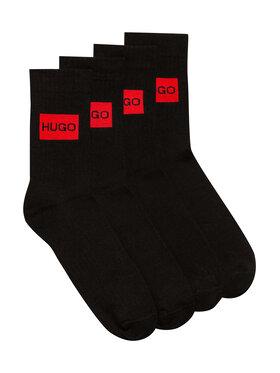 Hugo Hugo Комплект 2 чифта дълги чорапи мъжки 2P Qs Rib Label Cc 50437697 Черен