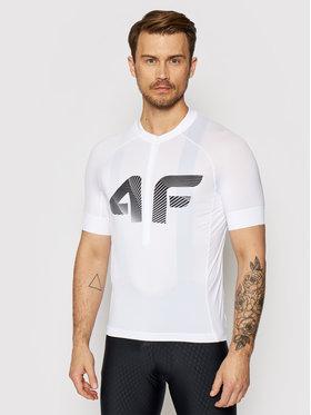 4F 4F Dviratininko marškinėliai H4L21-RKM001 Balta Slim Fit