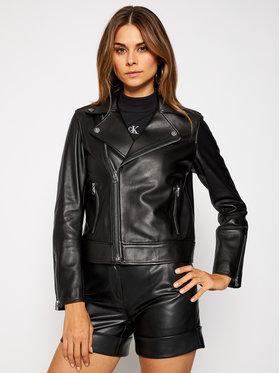 Calvin Klein Calvin Klein Kožená bunda Essential K20K201429 Čierna Regular Fit