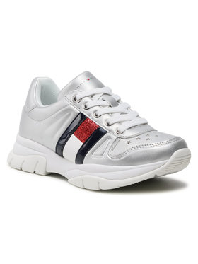 Tommy Hilfiger Tommy Hilfiger Sneakersy Low Cut Lace-Up Sneaker T3A4-31033-1160 M Srebrny