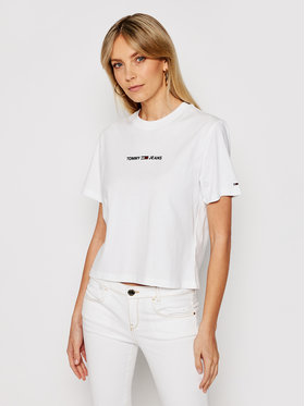 Tommy Jeans Tommy Jeans Marškinėliai Linear Logo DW0DW10057 Balta Cropped Fit