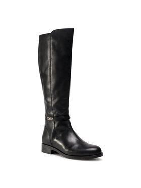 Tommy Hilfiger Tommy Hilfiger Kozačky ve vojenském stylu Block Branding Flat Long Boot FW0FW05167 Černá