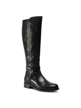 Tommy Hilfiger Tommy Hilfiger Oficerki Block Branding Flat Long Boot FW0FW05167 Czarny