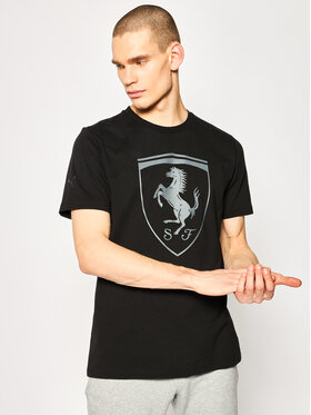 Puma Puma T-Shirt Ferrari Big Shield Tee 595408 Schwarz Regular Fit