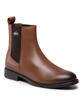 Tommy Jeans Tommy Jeans Sztyblety Essemtials Leather Flat Boot EN0EN01518 Brązowy