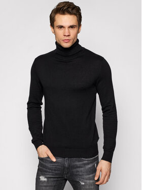 Jack&Jones Jack&Jones Golf Emil Knit Roll Neck 12157417 Czarny Regular Fit