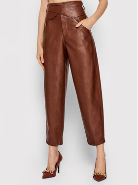 Pinko Pinko Панталони от имитация на кожа Shelby 3 1G168U 7105 Кафяв Slim Fit