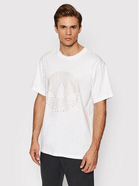 adidas adidas T-Shirt Deco Trefoil Tee H31334 Biały Regular Fit