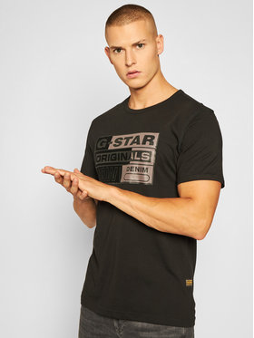 G-Star Raw G-Star Raw Тишърт Originals Flock Logo D17725-336-6484 Черен Regular Fit