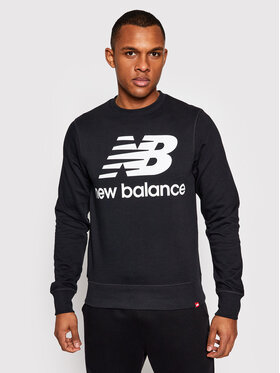 New Balance New Balance Pulóver Essentials Stacked Logo Crew MT03560 Fekete Athletic Fit
