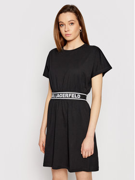 KARL LAGERFELD KARL LAGERFELD Každodenné šaty Logo Tape 211W1361 Čierna Regular Fit