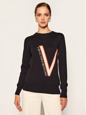 Victoria Victoria Beckham Victoria Victoria Beckham Džemper Logo Embroidered 2320KJU001613A Tamnoplava Regular Fit