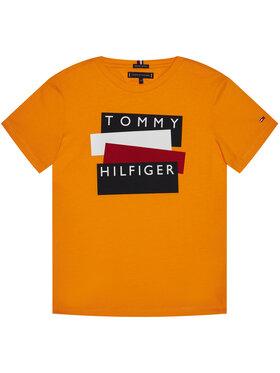 TOMMY HILFIGER TOMMY HILFIGER Marškinėliai Sticker Tee KB0KB05849 M Oranžinė Regular Fit