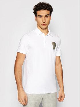 KARL LAGERFELD KARL LAGERFELD Тениска с яка и копчета 745080 511221 Бял Regular Fit