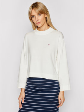 Tommy Jeans Tommy Jeans Svetr Essential DW0DW09802 Bílá Relaxed Fit