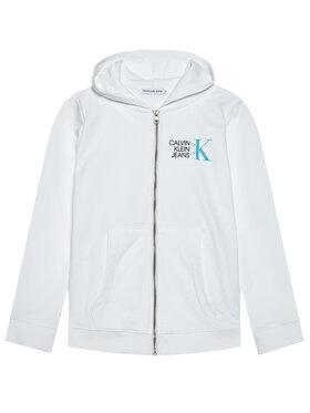 Calvin Klein Jeans Calvin Klein Jeans Mikina Hybrid Logo Zip IB0IB00800 Biela Regular Fit