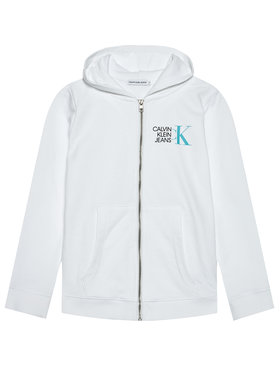 Calvin Klein Jeans Calvin Klein Jeans Суитшърт Hybrid Logo Zip IB0IB00800 Бял Regular Fit