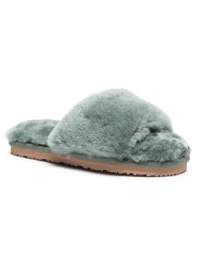 Mou Mou Chaussons Sheepskin Fur Slide Slipper FW161001L Vert