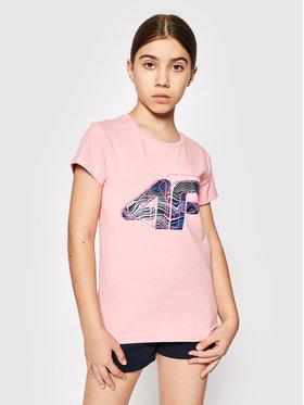4F 4F T-Shirt HJL21-JTSD003A Růžová Regular Fit