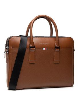 Tommy Hilfiger Tommy Hilfiger Geantă pentru laptop Business Leather Slim Comp AM0AM068420 Maro