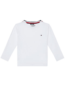 TOMMY HILFIGER TOMMY HILFIGER Блуза Solid Rib Tee KB0KB06212 M Бял Regular Fit