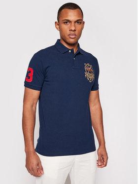 Polo Ralph Lauren Polo Ralph Lauren Тениска с яка и копчета Ssl 710835036001 Тъмносин Custom Slim Fit