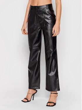 NA-KD NA-KD Kalhoty z imitace kůže 1018-007271-0002-581 Černá Regular Fit