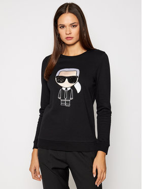 KARL LAGERFELD KARL LAGERFELD Суитшърт Ikonik 205W1801 Черен Regular Fit