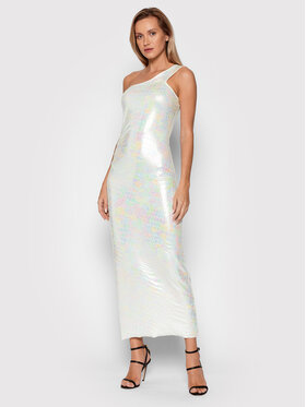ROTATE ROTATE Коктейлна рокля Linda Dress RT538 Бял Slim Fit