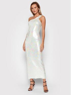 ROTATE ROTATE Koktejlové šaty Linda Dress RT538 Biela Slim Fit