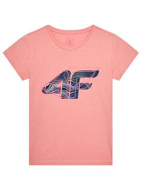 4F 4F T-Shirt HJL21-JTSD003A Różowy Regular Fit