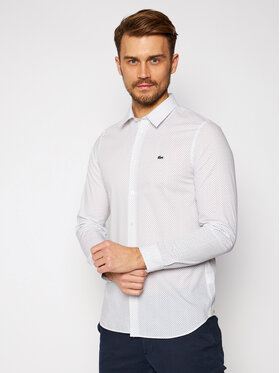 Lacoste Lacoste Πουκάμισο CH6681 Λευκό Slim Fit