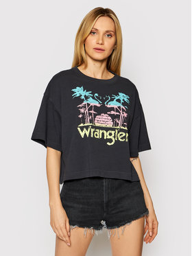 Wrangler Wrangler T-Shirt Boxy W7S2GFXV6 Czarny Relaxed Fit