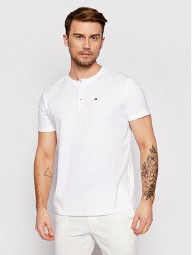Tommy Hilfiger Tommy Hilfiger T-Shirt Ss Tee Henley UM0UM02130 Biały Regular Fit