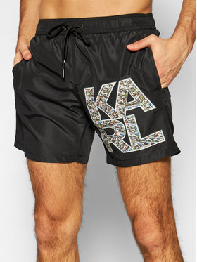 KARL LAGERFELD KARL LAGERFELD Плувни шорти Library KL21MBM02 Черен Regular Fit