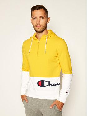 Champion Champion Mikina Half Zip-Up Colour Block Wraparound Logo Hoodie 214205 Žlutá Comfort Fit
