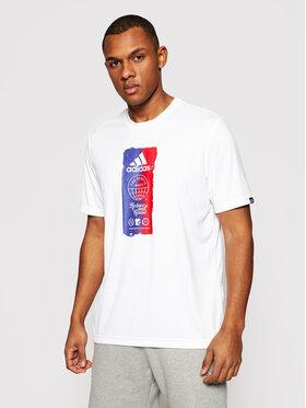 adidas adidas Koszulka techniczna Icons Graphic GL3262 Biały Regular Fit