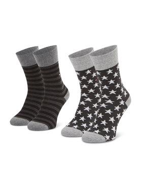Tommy Hilfiger Tommy Hilfiger Súprava 2 párov vysokých dámskych ponožiek 100000816 Sivá