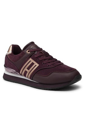 Tommy Hilfiger Tommy Hilfiger Sneakersy Casual Material Mix City Runner FW0FW06019 Bordová