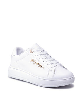 Tommy Hilfiger Tommy Hilfiger Sneakers Signature Leather Sneaker FW0FW05806 Blanc
