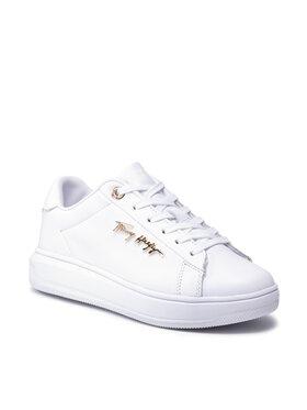 Tommy Hilfiger Tommy Hilfiger Sportcipő Signature Leather Sneaker FW0FW05806 Fehér
